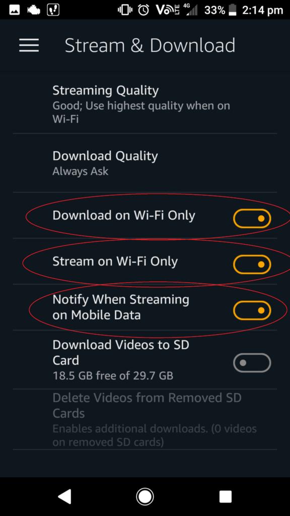 How to reduce Amazon prime data usage